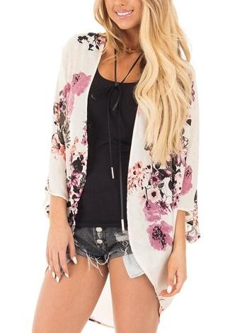 Women Chiffon Kimono Beach Cover-Up Floral Print  Casual Loose Boho Cardigan Outerwear