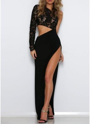 Frauen-langes Kleid-Spitze-Oberseiten-eine Schulter-hohe Schlitz-offene Seite