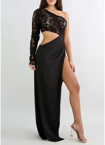 Women Long Dress Lace Top One Shoulder High Slit Open Side