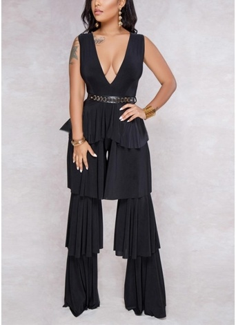 Femmes Sans Manches Jumpsuit Ruffles Long Pantalon Solid One Piece Playsuit Barboteuses