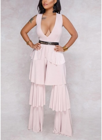 104a7dbce890 Women Sleeveless Jumpsuit Ruffles Long Pants Solid One Piece Playsuit  Rompers
