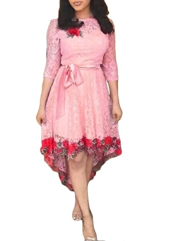 Women Rose Embroidery Lace Dress O Neck 3/4 Sleeve Asymmetric Party Dress with Belt