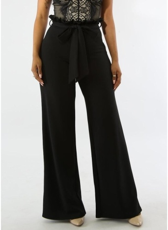 Women Slim Trousers Wide Leg Ruffle Belt Zip Solid Color Bodycon Pants