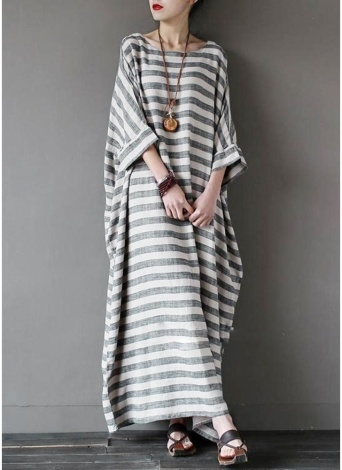 New Fashion Women Casual Loose Dress Striped Print Batwing Sleeve Cotton Robe Maxi Long Dress Grey