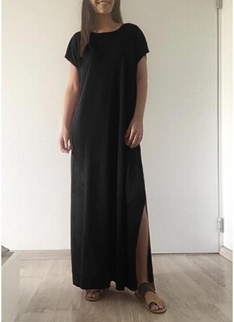Women Casual Long Dress Solid Split Short Sleeve  Slit Maxi Tee Dress