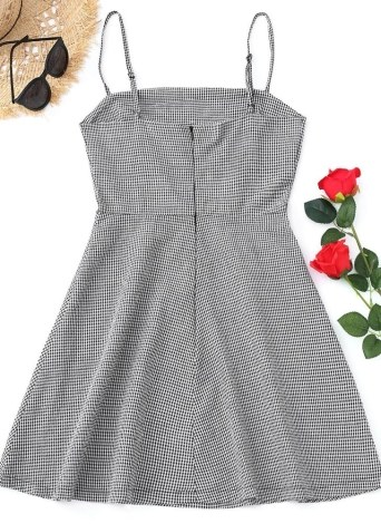 Women Plaid Sleeveless Dress ackless Strappy A-Line Mini Sundress