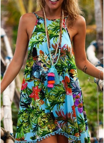 Mulheres Floral Mini vestido sem mangas Backless Irregular Hem Strappy Beach Wear Vestido de verão