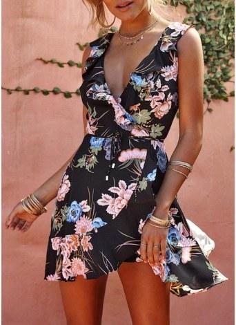Женщины Элегантные цветочные мини платье оборки Trim без рукавов A-Line Сарафан