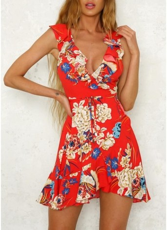 Women Elegant Floral Mini Dress Ruffles Trim Sleeveless A-Line Sundress