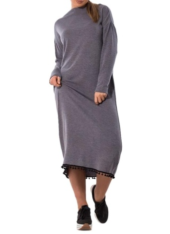 Frauen Plus Size Maxikleid O-Neck Langarm Quaste Solid Slim Langes Kleid