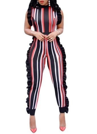 Женщины Bodycon Полосатый комбинезон Ruffle без рукавов Zip Slim Romper Body Suits