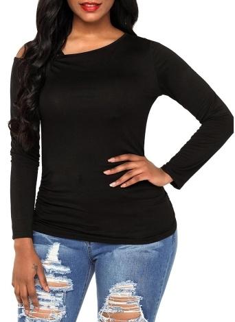 Women Cutout Shoulder T-Shirt Solid Color Long Sleeve Strap Top Tee Shirt