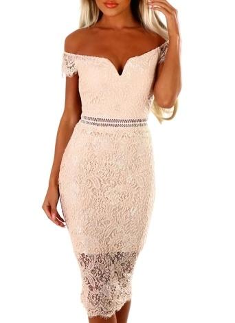 Femmes Bodycon Lace Dress manches courtes Retour Zipper Clubwear Party Midi Dress