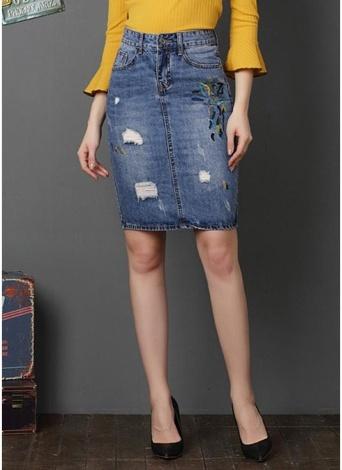 Women Ripped Denim Skirt Embroidery Jean Mini Skirt Split Washed Pencil Skirt
