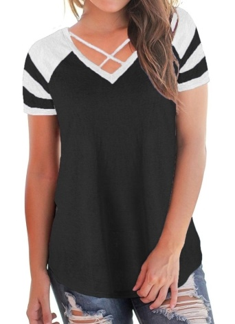 Colorblock Criss Cross Strap V Neck Short Sleeve Contrast Stripes Long Casual Tops