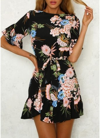 Floral Print Ruffles Half Sleeve Casual Slim Ladies Dress