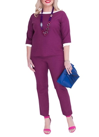 Plus Size O Neck Half Sleeve Outfits Casual Suits