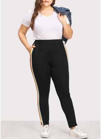 Plus Size Colorful Stripes High Waist Pocket Slim Tights Leggings