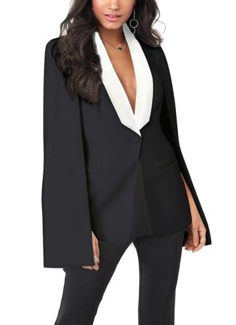 Cape Cloak OL Jacket Sleeveless Irregular Hem Pockets Blazer