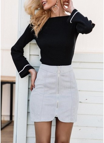 Faux Suede Zipper Irregular Hemline Pencil Mini Skirt