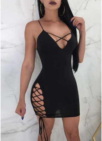 Plunge V Cross Over Lace Up Bandage Spaghetti Strap Sleeveless Backless  Mini Dress f95765230