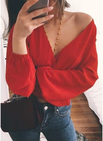Tie-Back Deep V Neck Long Sleeve Sexy Cutout Shirt Crop Tops