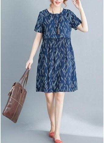 Fresh Print O-Neck Short Sleeve Casual Loose Mini Dress
