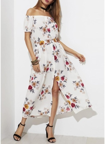 Off The Shoulder Floral Short Sleeves Dress Summer Casual Split Long Dress