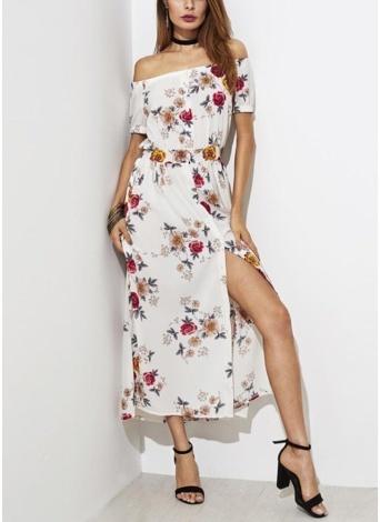 Fora do ombro floral mangas curtas vestido de verão casual dividir vestido longo