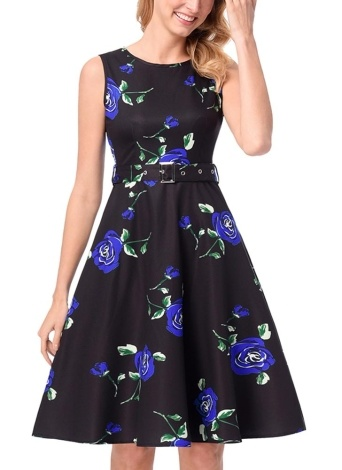 Vintage Floral Sleeveless A-Line Pleated Skirt High Waist Belt Midi One-Piece Dress