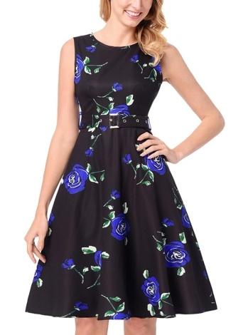 Vintage Floral Sleeveless A-Linie Faltenrock Hohe Taille Gürtel Midi Einteiliges Kleid