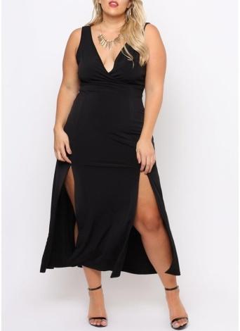 Plus Size Front Splits Deep V Neck Sleeveless Maxi Dress