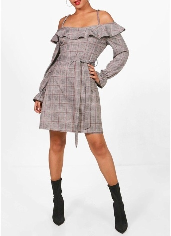 Strappy Plaid Off Shoulder Ruffle Dress Tie Waist Flared Sleeve Dress