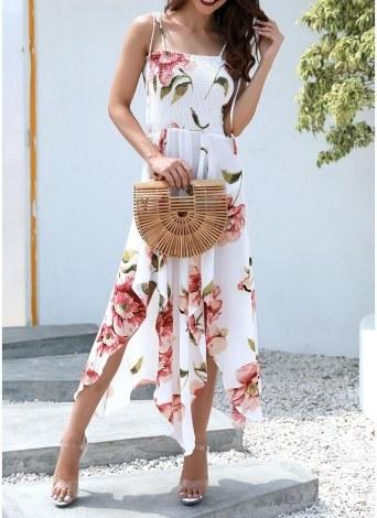 Boho Floral Imprimir vestido sem mangas Strap Irregular Hem Vestido Midi