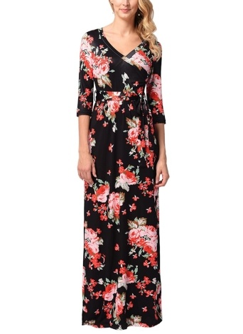 Women Vintage Floral Half Sleeve Maxi Dress Summer Floor-Length Beach Dress