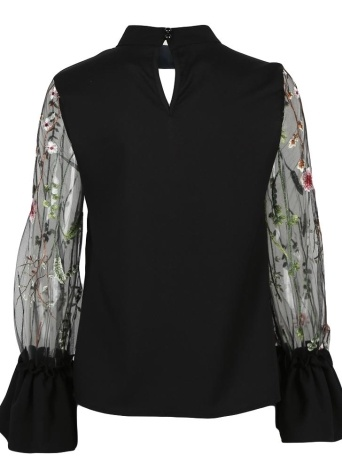 Frauen Sheer Mesh Blumenstickerei Bluse Choker Sommer Shirt Streetwear