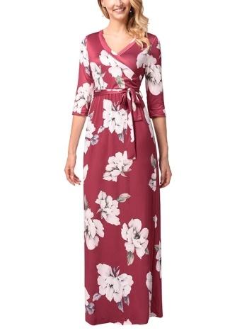 Vestido largo floral de las mujeres del Boho de las mujeres vestido largo cruzado delantero de la manga de las mangas
