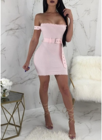 Women Off-The-Shoulder Tube Dress Solid Ribbed Slim Bodycon Belted Mini Dress