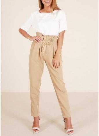 Calças de lápis de mulheres rendas até bolsos de lado frontal Ruched calças de verão