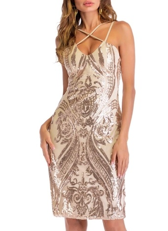 Frauen Sommer Gold Luxus Pailletten Kleid Party Club tragen Midi, figurbetontes Kleid