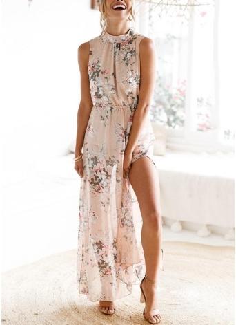 Frauen Boho Floral Long Split Kleid Sommer Casual Beach Maxi Kleid