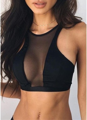 Women Sheer Mesh Crop Top Bustier Unpadded Bra Vest Tank Top Bralet