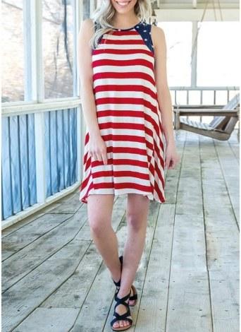 Полосатый американский флаг Печатная юбка O Шея без рукавов Мини-танк платье