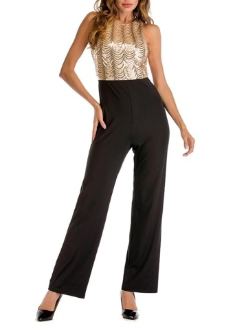 Sequined Top Open Back High Waist Casual Playsuit
