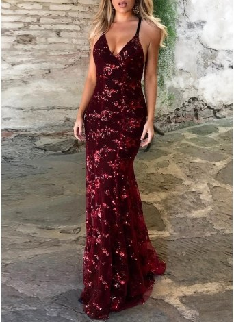 Sequined Backless Bodycon V Neck Strappy Maxi Dress