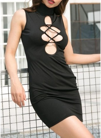 Party Cutout Front High Neck Sleeveless Skirt Solid Color Slim Bodycon Mini Dress