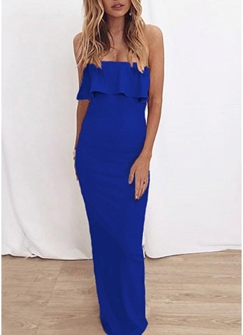 Off the Shoulder Ruffle Solid Dress Evening Prom Bodycon Maxi Dress