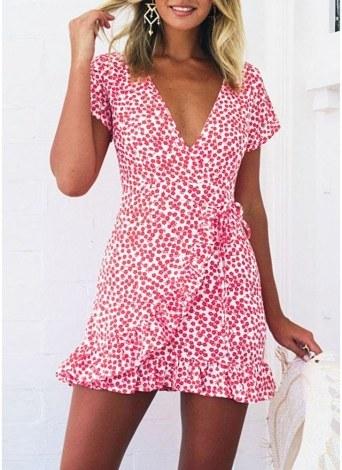 Women Cross Lace Mini Dress Summer Casual Ruffles Holiday Sun Ladies UK6-12