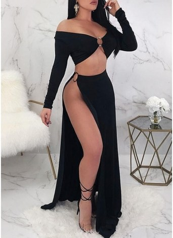 537872886 Sexy Women Open Side Skirt Set Off the Shoulder Cropped Top High Cut Slit  Night Club