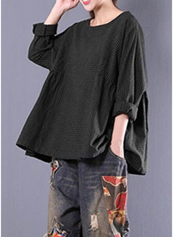 New Women Vintage Plaid Shirt Round Neck Long Sleeve Loose Casual Blouse Oversized Tops
